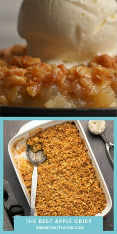 The most delicious apple crisp recipe ever! So easy to make and absolutely divine served warm with a scoop of vanilla ice cream! Crab Apple Recipes, Apple Crisp Recipes, Easter Recipes, Mexican Food Recipes, Sweet Recipes, No Cook Desserts, Easy Desserts, Dessert Recipes, Fruit Crumble