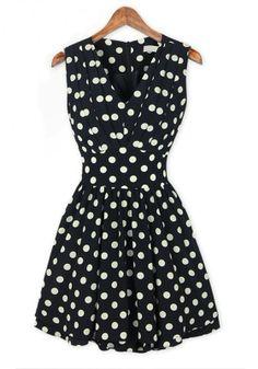 Black and White Polka Dot Print Ruffle V-neck Chiffon Dress find more women fashion ideas on www.misspool.com