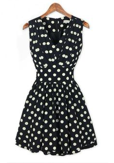 Super Cute Black and White Polka Dot Print Ruffle V-neck Chiffon Dress #Cute #Black_and_White #Polka_Dots #Summer #Fashion