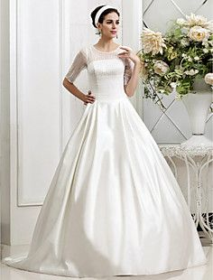 A-line Princess Jewel Court Train Beading Tulle Wedding Dre... – GBP £ 173.99
