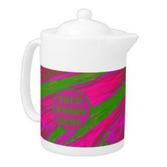 Bright pink green design Personalized porcelain teapot #zazzle #tea #gifts