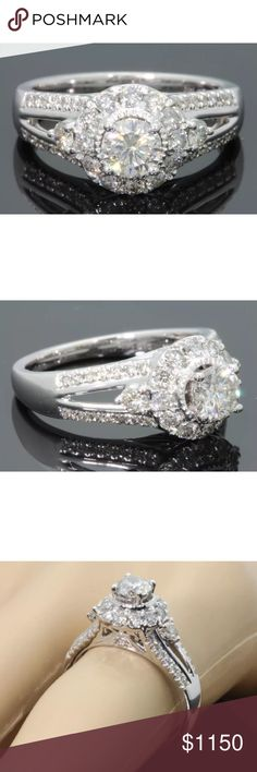 Amazing 1.40 carat 10k white gold diamond ring Amazing 1.40 carat 10k white gold diamond ring! Center diamond is 0.50 carats! Retail over $2500!! Jewelry Rings