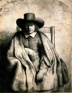 Clement de Jonghe Printseller by Rembrandt, Etching