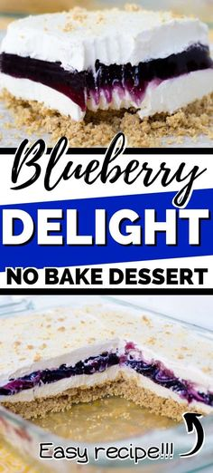 Blueberry Delight (aka Blueberry Yum Yum) is a cool and creamy no-bake dessert made with a graham cracker crust and layers of no-bake cheesecake, blueberry pie filling, and Cool Whip. #nobakedesserts #blueberrydesserts #summerdessert #easydesserts #coolwhip #creamcheesedesserts