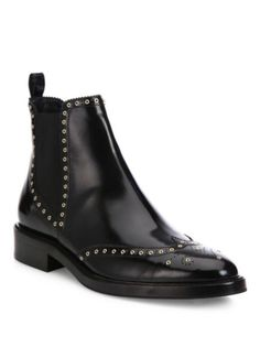 Burberry - Bactonul Studded Leather Brogue Chelsea Boots