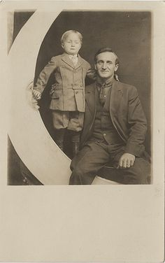 Paper Moon - Father and Son Real Photo postcard