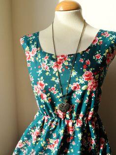Floral Dress / Dark Teal Rose Floral Dress by jenniferlillydesigns, $35.00
