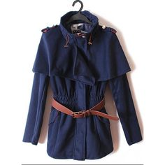 Pretty Long Sleeve Cape Outerwear Navy$60.00 ($60) ❤ liked on Polyvore