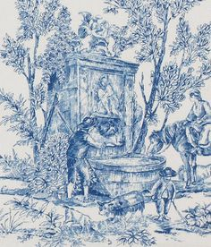 Lenoxdale Toile Fabric from Country Curtains, available in green Blue And White Curtains, Blue And White Fabric, Blue Gingham, Toile Curtains, Country Curtains, Window Curtains, French Country Cottage, French Country Style, Chinoiserie
