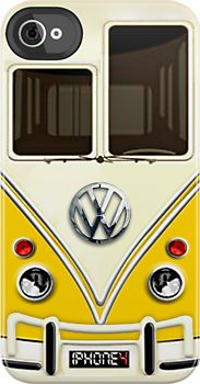 Made in USA, Great Case, Sharp image & Fast Shipping. Yellow Volkswagen VW with chrome logo iphone 4 4s, iPhone 3Gs, iPod Touch 4g case