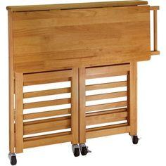 Folding Kitchen Cart with Knife Block, Light Oak - Walmart.com