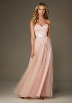 Ballerina Style Long Bridesmaid Dress in Tulle with Embroidery and Beading by Madeline Gardner. Matching Tie Sash included. Shown in Blush.