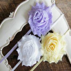 Set of 3 single Shabby Chic Flower Headbands, Pink,White, Yellow