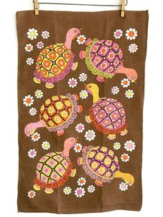 Kitchen Tea Towel Turtles Flowers Vintage Linen Wall Hanging Textile Ulster by NeatoKeen on Etsy