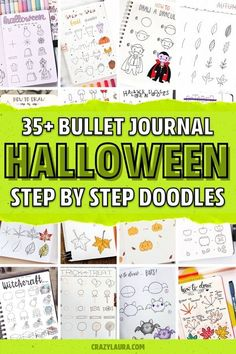 Want to add some super fun Halloween and fall doodles to your bullet journal spreads?! Check out these awesome step by step doodle tutorials for inspiration! #bujodoodles #falldoodles #doodles #bulletjournal Bullet Journal Quotes, Bullet Journal Ideas Pages, Bullet Journal Layout, Bullet Journal Travel, Bullet Journal Monthly Spread, Bullet Journal Inspiration, Bullet Journals, Halloween Doodle, Halloween Fun