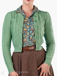 Our fab cardigans are stylish, comfy, warm, and available in a range of colours. The cropped s 1940s Fashion, Vintage Fashion, Vintage Inspired Fashion, Pretty Outfits, Beautiful Outfits, Vintage Dresses, Vintage Outfits, 1940s Dresses, 1940s Outfits