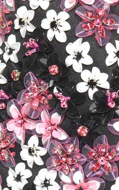 embroidery on boots white, black and pink flowers made from sequines and beads