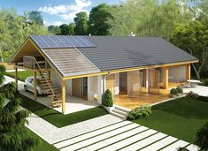 Eryk (z wiatą) - zdjęcie 3 Simple House Design, Modern House Design, House Plans Mansion, Modern Barn House, Bungalow Renovation, Bungalow Homes, Weekend House, My Ideal Home, Shed Homes