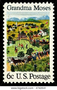 Grandma Moses -- < found on this person's Stamp board ... http://www.pinterest.com/pin/114208540525456054/ >