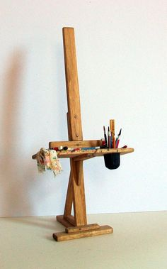 Miniature Artist Easel (1 inch dollhouse scale). $45.00, via Etsy.