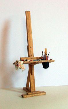 Miniature Artist Easel (1 inch dollhouse scale). $45.00, via Etsy.