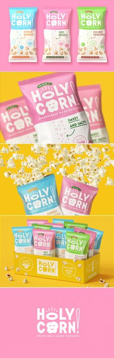 Holy Corn is the Healthy Conceptual Popcorn Snack With an Adorable Look — The Dieline | Packaging & Branding Design & Innovation News