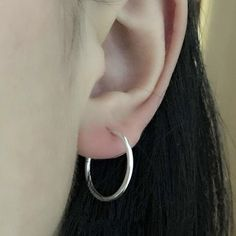 Bovvskyt Silver plated small round Hoop Earrings Simple Circles Earrings For Ladies Girls