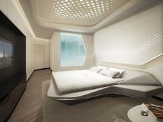 A luxurious spaceship - Take a look inside the ME Dubai Hotel by Zaha Hadid Futuristic Bedroom, Futuristic Interior, Futuristic Furniture, Bedroom Bed Design, Modern Bedroom Design, Bedroom Decor, Bedroom Designs, Small Apartment Layout, Apartment Design