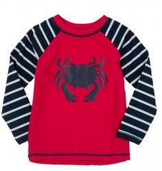 Best Boys' Protective Swim Wear. Hatley Crab Rash Guard.