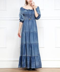 Another great find on #zulily! Blue Boatneck Denim Peasant Maxi Dress #zulilyfinds