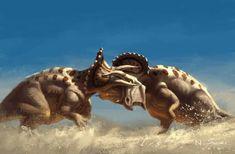 Triceratops Battle Artwork by Napon Suzuki Dinosaur Photo, Dinosaur Images, Dinosaur Art, Prehistoric Wildlife, Prehistoric World, Prehistoric Creatures, Jurassic World Fallen Kingdom, Jurassic Park World, Dinosaur Sketch