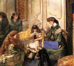 Young Girls and Dogs (also known as The Natanson Girls or the Young Girl's Quarters)  -  Pierre Bonnard - 1908