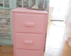 Vintage metal chippy painted pink shabby by Vintagewhitecottage