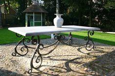 Swedish Home Decor, Swedish House, Iron Furniture, Outdoor Furniture, Outdoor Dining, Outdoor Decor, Woodworking Bed, Picnic Table, Chair Design