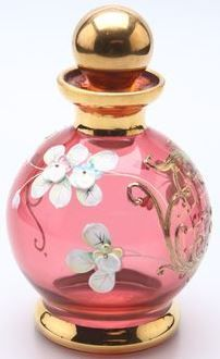 Bohemian Perfume Bottle (Red glass with Enameled Flowers and Gold)