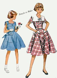 Vintage 50s Sewing Pattern Simplicity 3292 Girls by sandritocat, $16.00