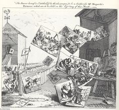 William Hogarth's The Battle of pictures. in 1743 there were much more pictures than images :)