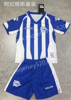 2018-19 Deportivo Alavés Home Blue White Kids Youth Soccer Uniform-SKE fb1f777cb