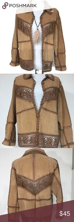 """Carducci 3/4 length suede jacket crochet trim Beautiful condition! The crochet trim has a sheen to it. The details are amazing. Soft to touch. 20.5"""" bust  21.5"""" length 100% suede with 100% rayon trim carducci Jackets & Coats"""