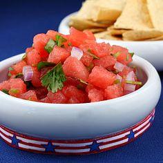 Leftover watermelon?  Make this simple & healthy Watermelon Salsa recipe.