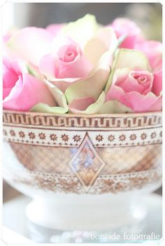 elegant container with exquisite pink and green rose