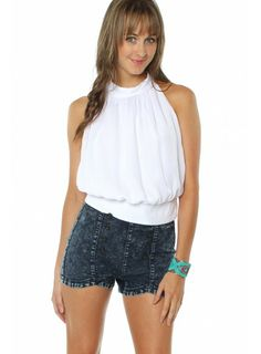 Date Night Halter White $24.99 #sophieandtrey #tops #blouses #halters #openback #white