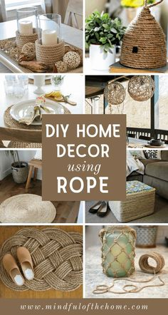 15 DIY Home Decor Ideas Using Rope These DIY rope crafts make perfect additions to coastal and rustic home decor. You can find rope at the dollar store, making these projects super budget-f Diy Craft Projects, Diy Crafts For Home Decor, Diy Crafts Hacks, Diy Crafts To Sell, Diy Crafts For Kids, Best Diy Projects, Diys, Home Craft Ideas, Money Making Crafts