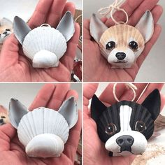 hair paint DIY Seashell Crafts-Paint your own seashell dog ornament!hair paint DIY Seashell Crafts-Paint your own seashell dog ornament! - CraftsPaint diy own dog your Gnome with Lantern / Seashell Painting, Seashell Art, Painting On Shells, Seashell Ornaments, Stone Painting, Dog Christmas Ornaments, Christmas Dog, Christmas Crafts, Christmas Ideas