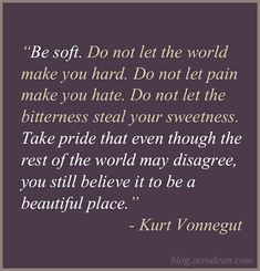 """Be soft. Do not let the world make you hard. Do not let pain make you hate. Do not let the bitterness steal your sweetness. Take pride that even though the rest of the world may disagree, you still believe it to be a beautiful place."" - Kurt Vonnegut"