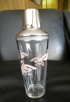 Pink Flamingos Cocktail Shaker Glass Stainless Steel Bar Shaker Drinks | eBay