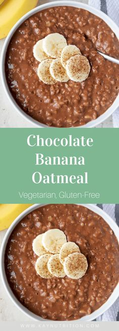 Chocolate Banana Oatmeal Who says you can't have chocolate for breakfast? This Chocolate Banana Oatmeal is a healthy Chocolate Oatmeal, Healthy Chocolate, Chocolate Recipes, Chocolate Chips, Vegetarian Chocolate, The Oatmeal, Oatmeal Bars, Microwave Oatmeal, Yummy Oatmeal