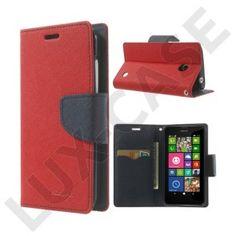 Mercury (Rød / Mørkeblå) Nokia Lumia 630 / 635 Læder Flip Etui
