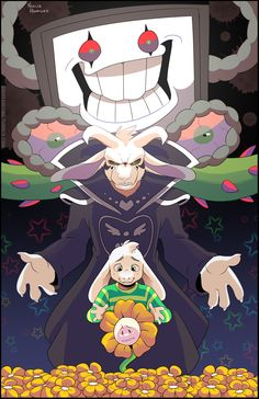 All of Asriel/Flowey's forms (well, except for The Absolute God of Hyperdeath... what? He's a kid, what did you expect?)