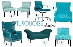 1. turquoise office chair  2. Patterned slipper chair 3. Pair of Nate chairs 4. Eddie chair 5. Chaise settee 6. chair and a half
